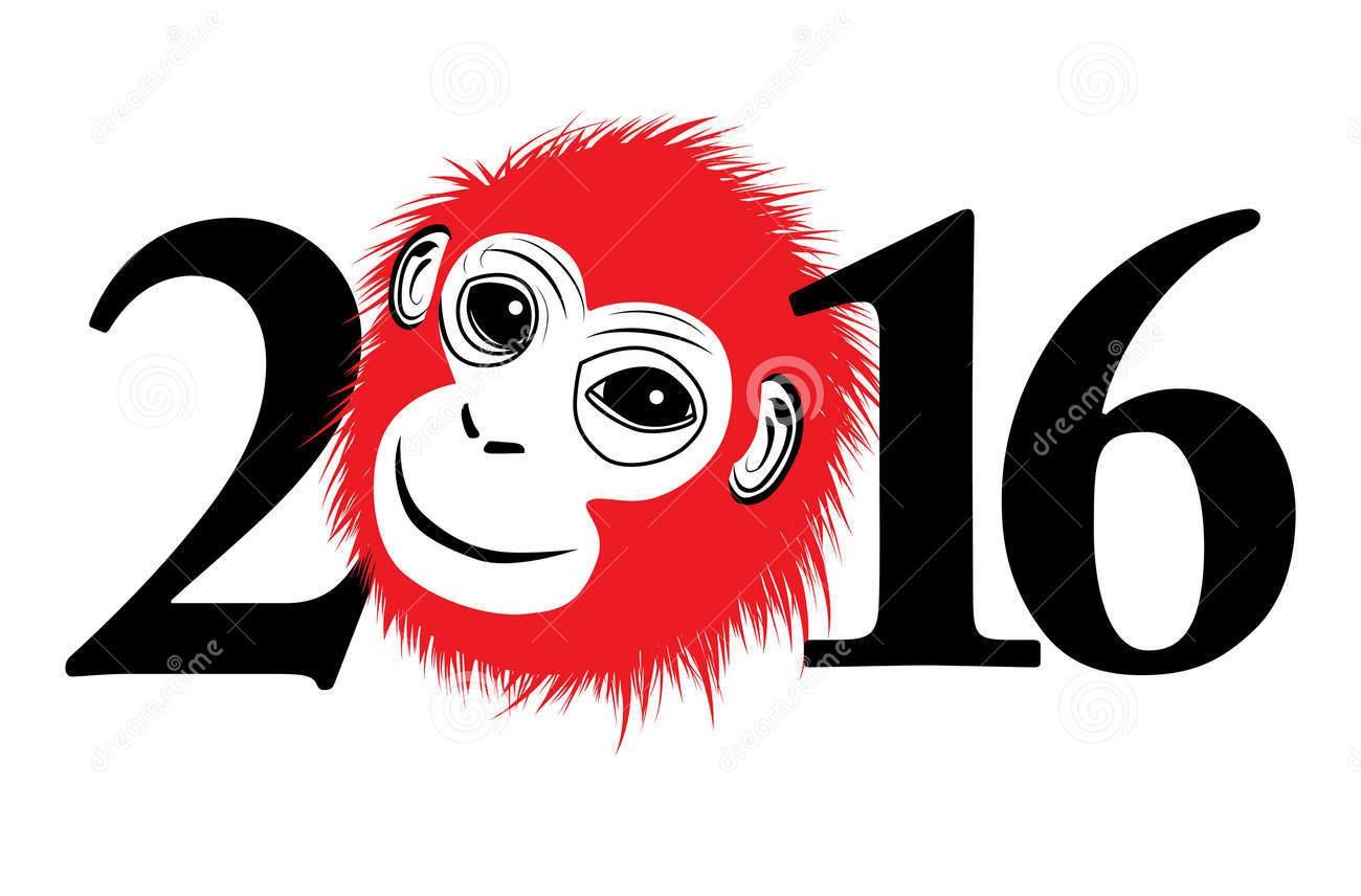 Открытка с новым годом обезьяны 2017