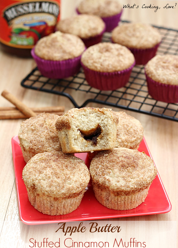Apple Butter Stuffed Cinnamon Muffins