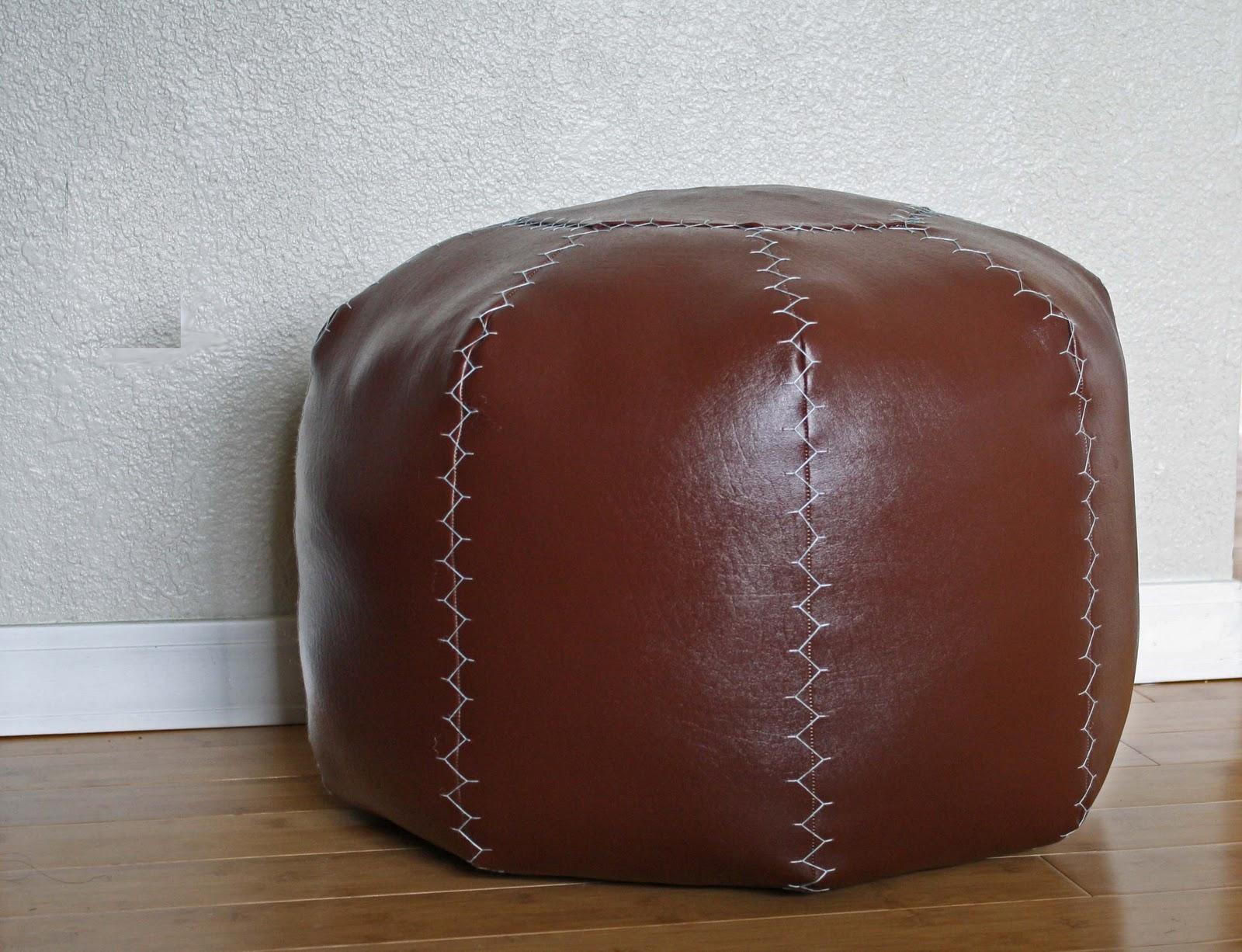 diy faux leather pouf - Leather Pouf