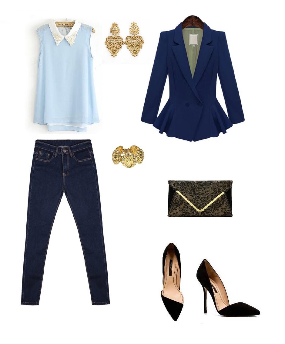 recomendaría un jean básico y de color oscuro, es decir nada de  despintados o rasgados, y claro combinarlo con un blazer para darle el  toque elegante.
