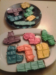 Tetris tetriminos - made of frosted brownies