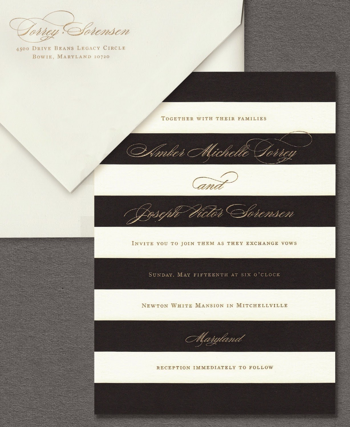 William arthur blog the bold black and white stripes that define this invitation suite are quintessentially vera wang the addition of gold engraving to this design makes it stopboris Images