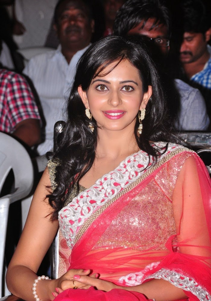Rakul Preet Singh :Rakul Preet Singh hot belly 28 inches waist hot pics in tight saree pink color panty visible bra pics hd