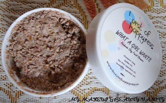 Burst of Happyness what a girl wants+homemade facial cleanser+clay face mask+clay+cleanser