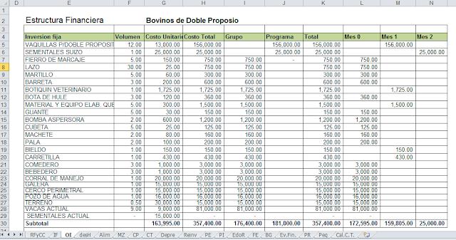 Estructura financiera en Excel