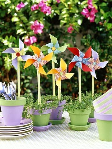 DIY pinwheel wedding centerpieces