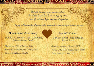 Dinesh Mythili Wedding Invitation October 26