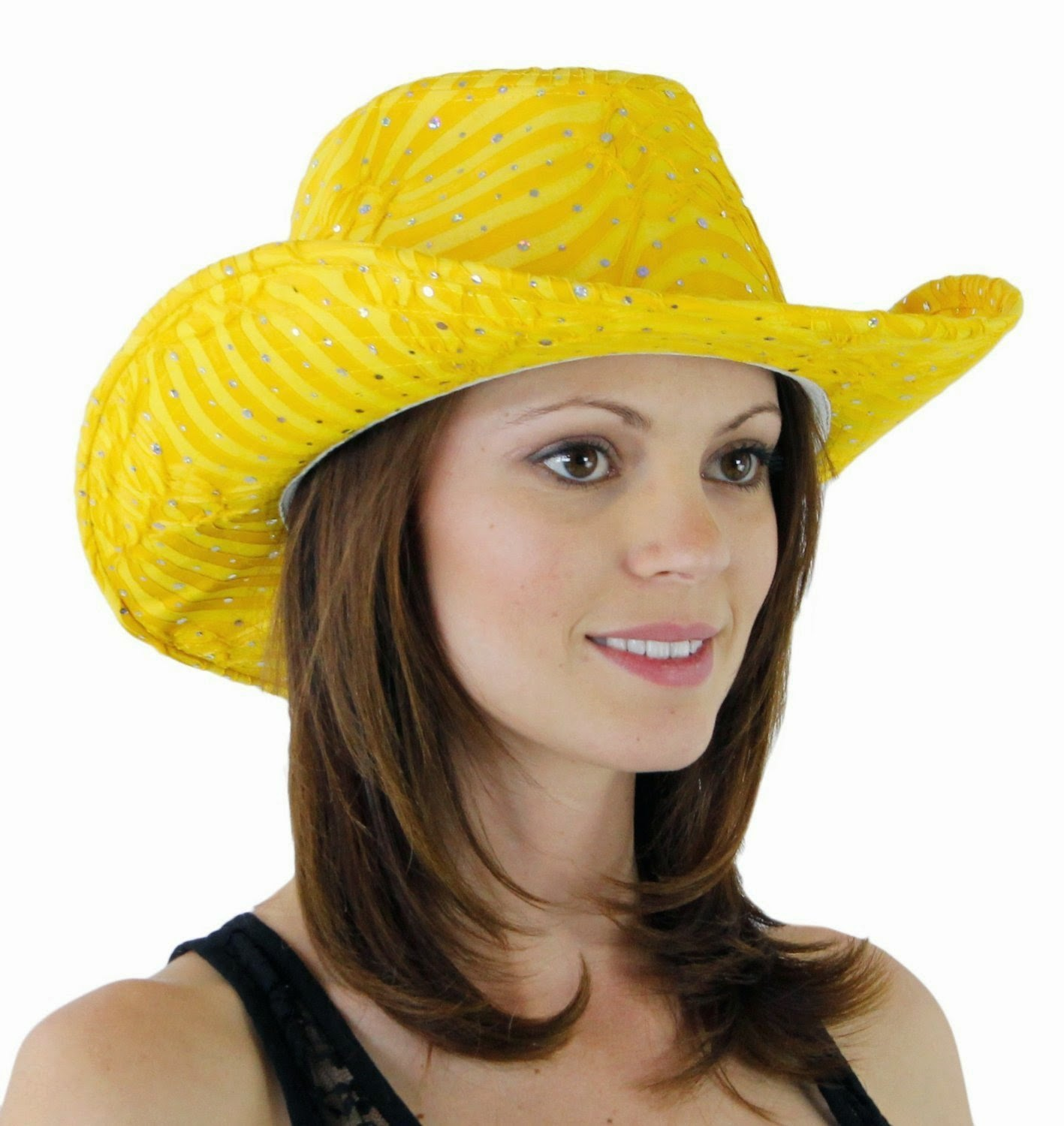 yellow glitter sequin trim cowboy hat for women