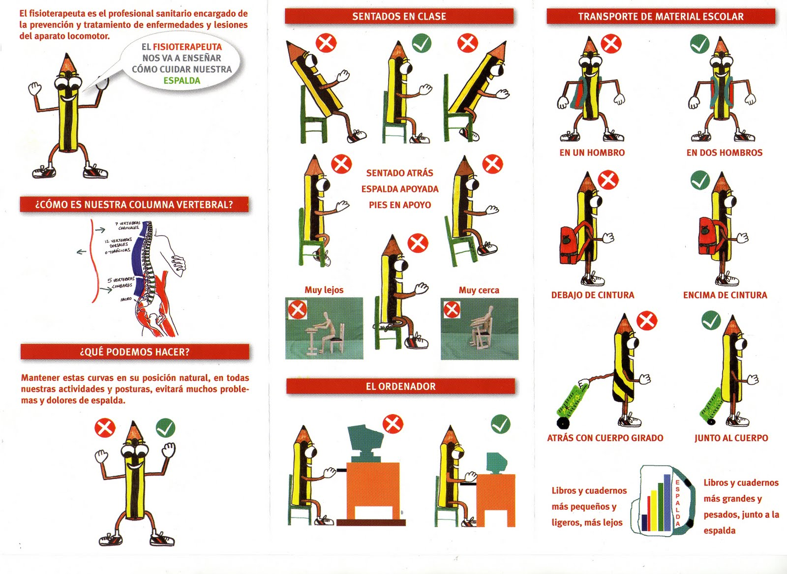 Higiene postural del escolar . Cartel Campaña postural .
