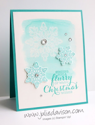 Stampin' Up! Flurry of Wishes Emboss Resist Christmas Card with snowflakes #stampinup www.juliedavison.com