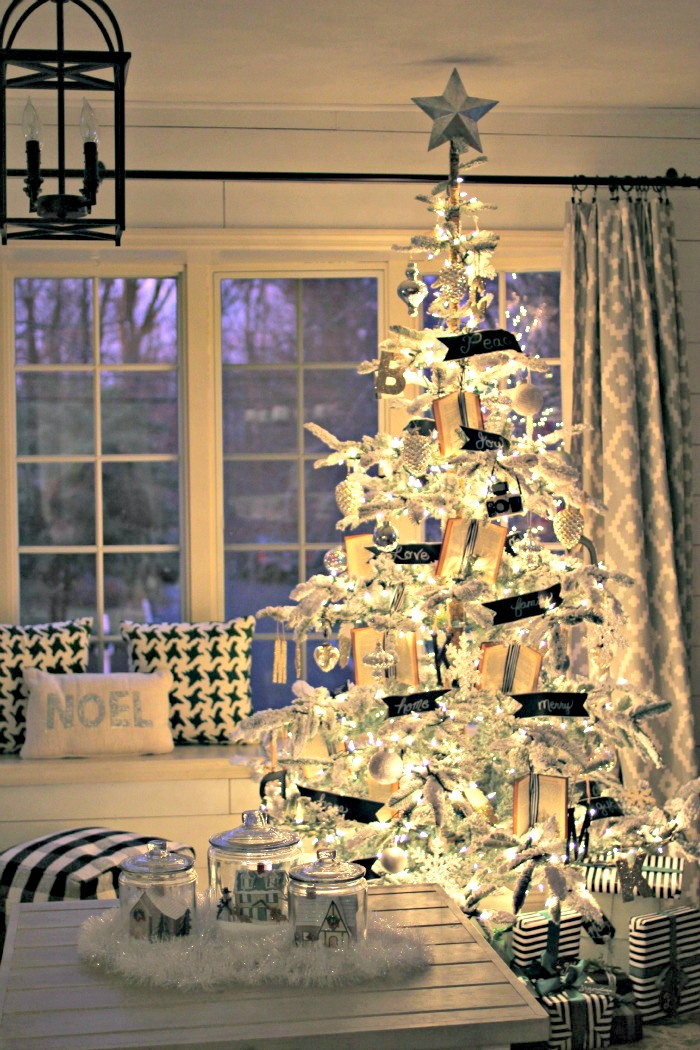 Flocked tree at night - www.goldenboysandme.com