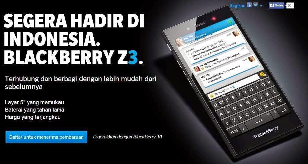 Spesifikasi dan Harga BlackBerry Z3 Terbaru 2014