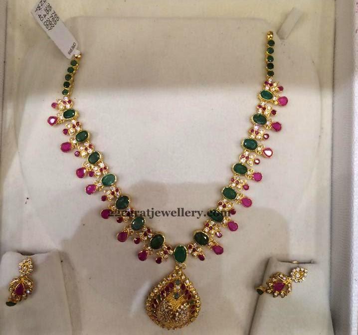 tri color gemstone necklace jewellery designs
