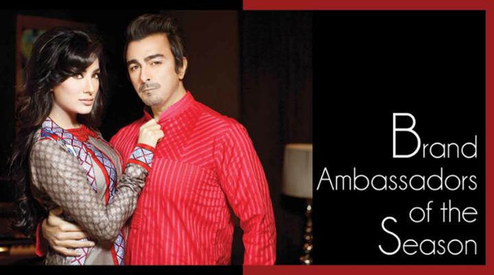 House of Ittehad Brand Ambassador 2014 Shaan Shahid & Mehwish Hayat