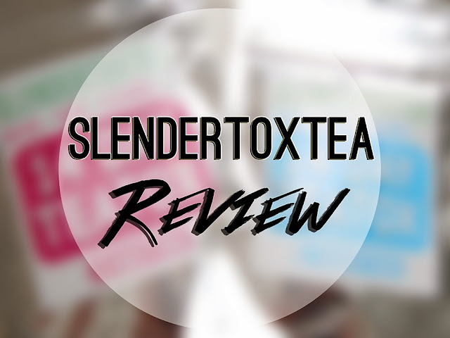 blurred background with a white circle with black text reading slendertoxtea review