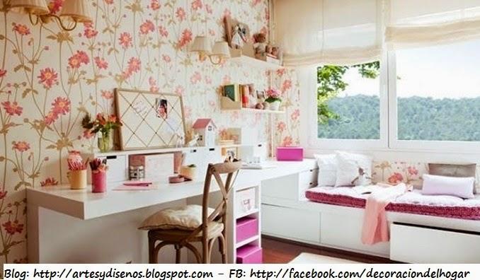 Habitaciones con Diseños Floreados y Románticos by artesydisenos.blogspot.com