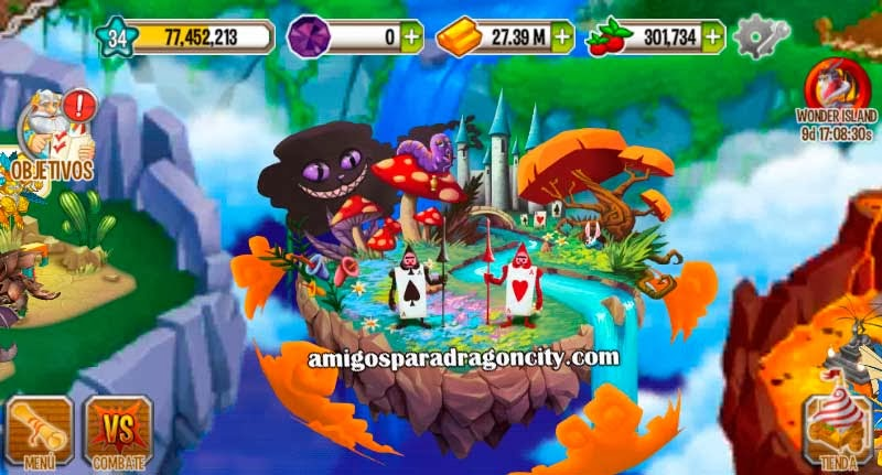imagen de la wonderland island de dragon city ios
