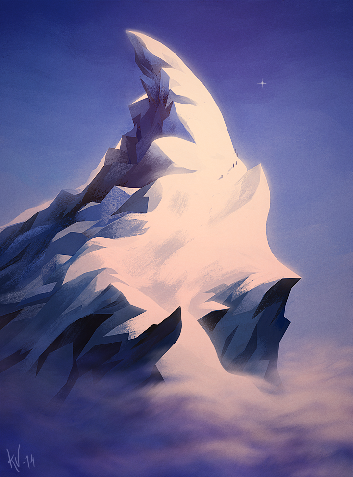 #vuorenhuippu #piirros #illustration #digital #painting #mountain #top