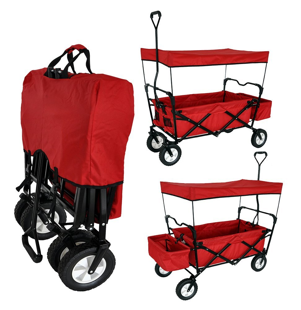 Red Collapsible Folding covered Canopy Wagon for Kids  sc 1 st  Total Fab & Best Wagons with Canopy Tops for Baby u0026 Toddlers - 2017