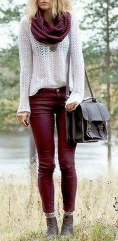 Maroon Skinny Pants, Scarf And White Sleeve Sweater Shirt