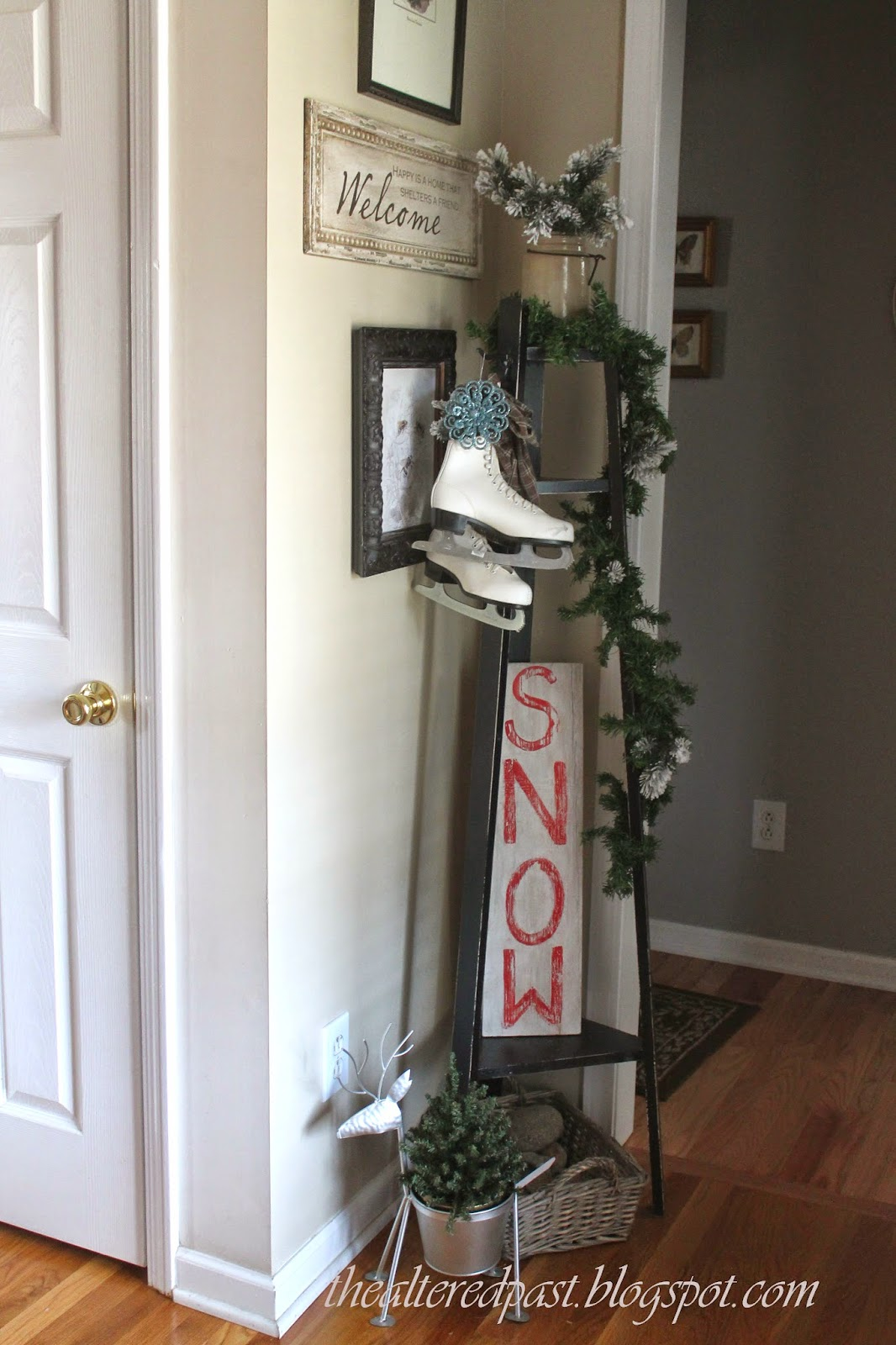 vintage ice skates, christmas home decor, the altered past