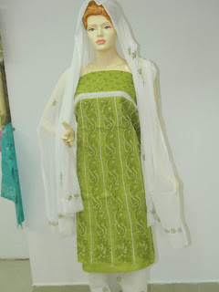 Lucknowi Chikan Green White Cotton Dress Material