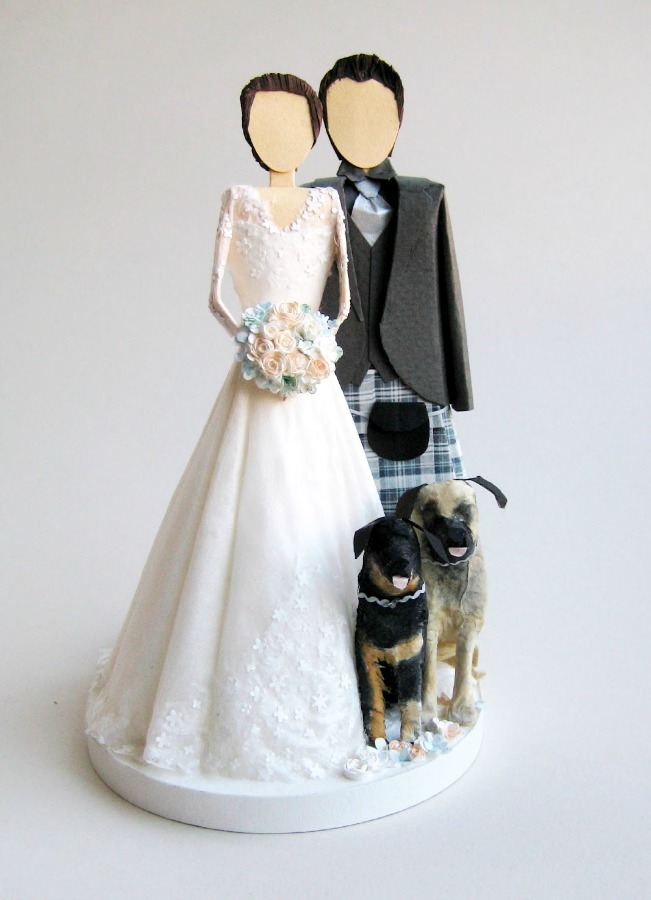 Wedding Cake Topper With Two Dogs