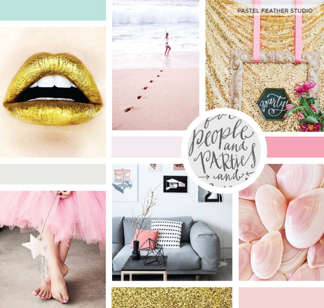 pastel feather studio moodboard, pink, blush, gold, grey