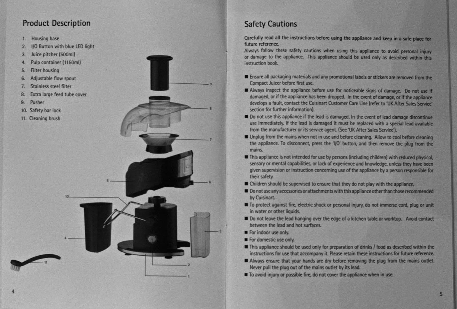 Cuisinart Compact Juicer's parts and safety cautions