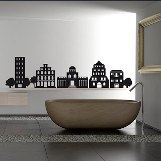 city bathroom wall decal