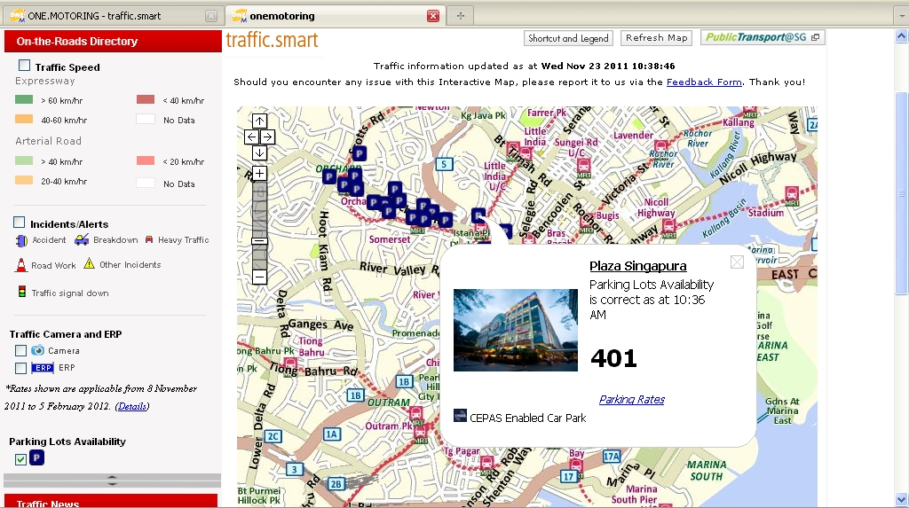 OneMap.sg: ONE.MOTORING Traffic.Smart - Your One Stop Site for all ...