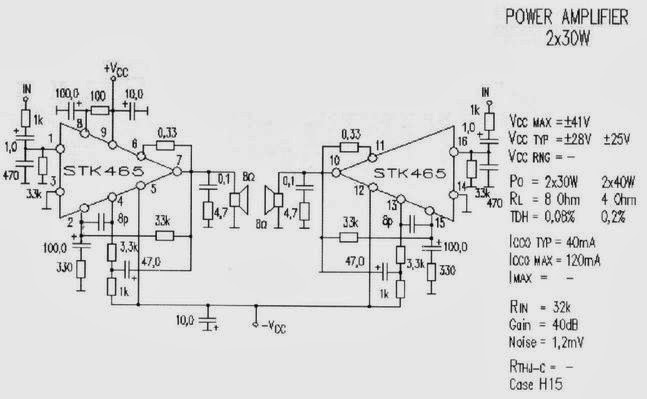 electronics circuit application  stk465 stereo amplifier