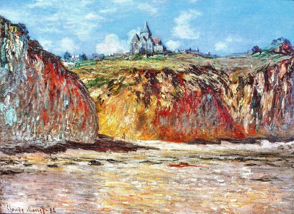 Les falaises et l'église à Varengeville (Claude Monet, 1882)