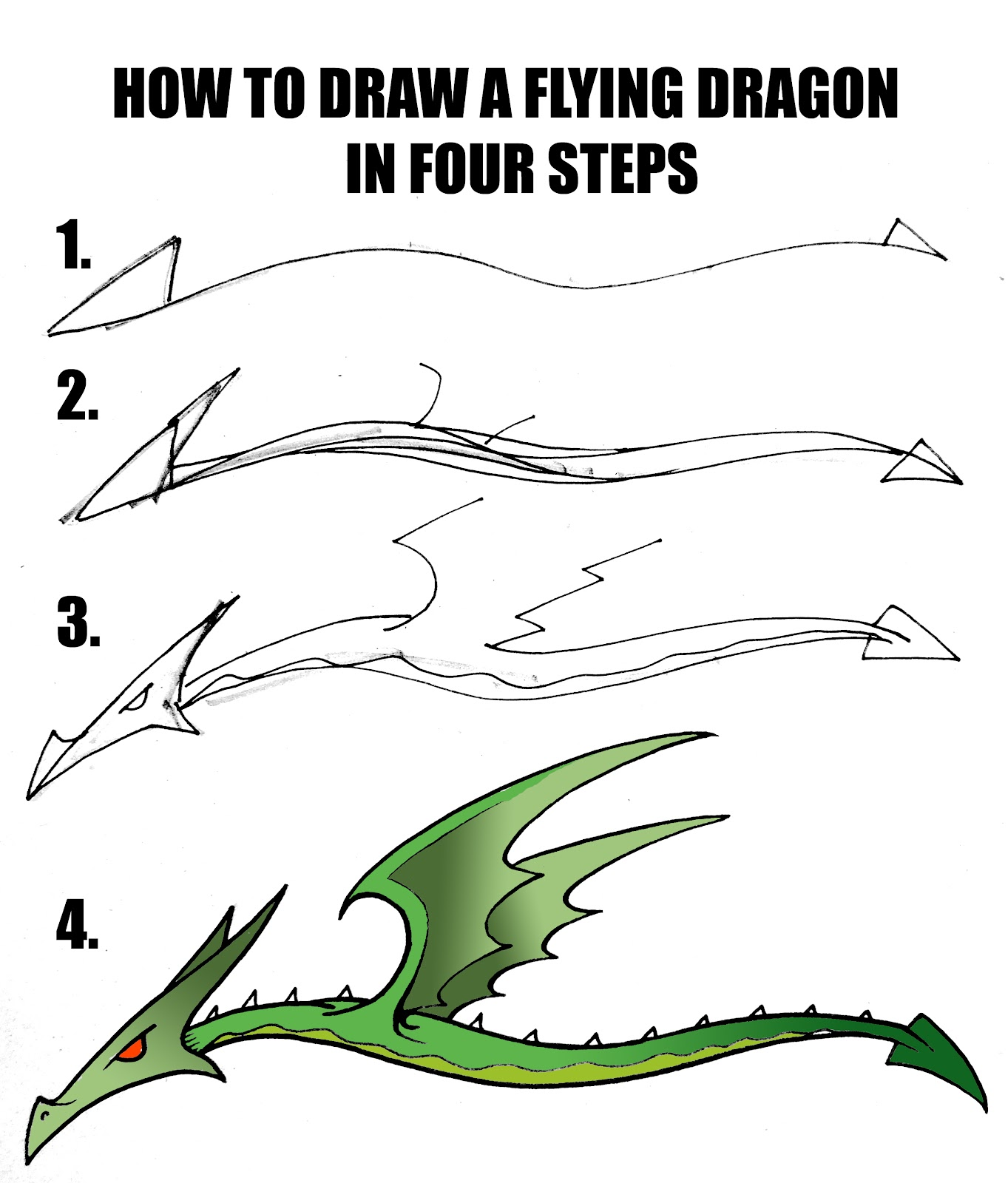 How To Draw A Dragon In Four StepsEasy Dragon Drawings Steps