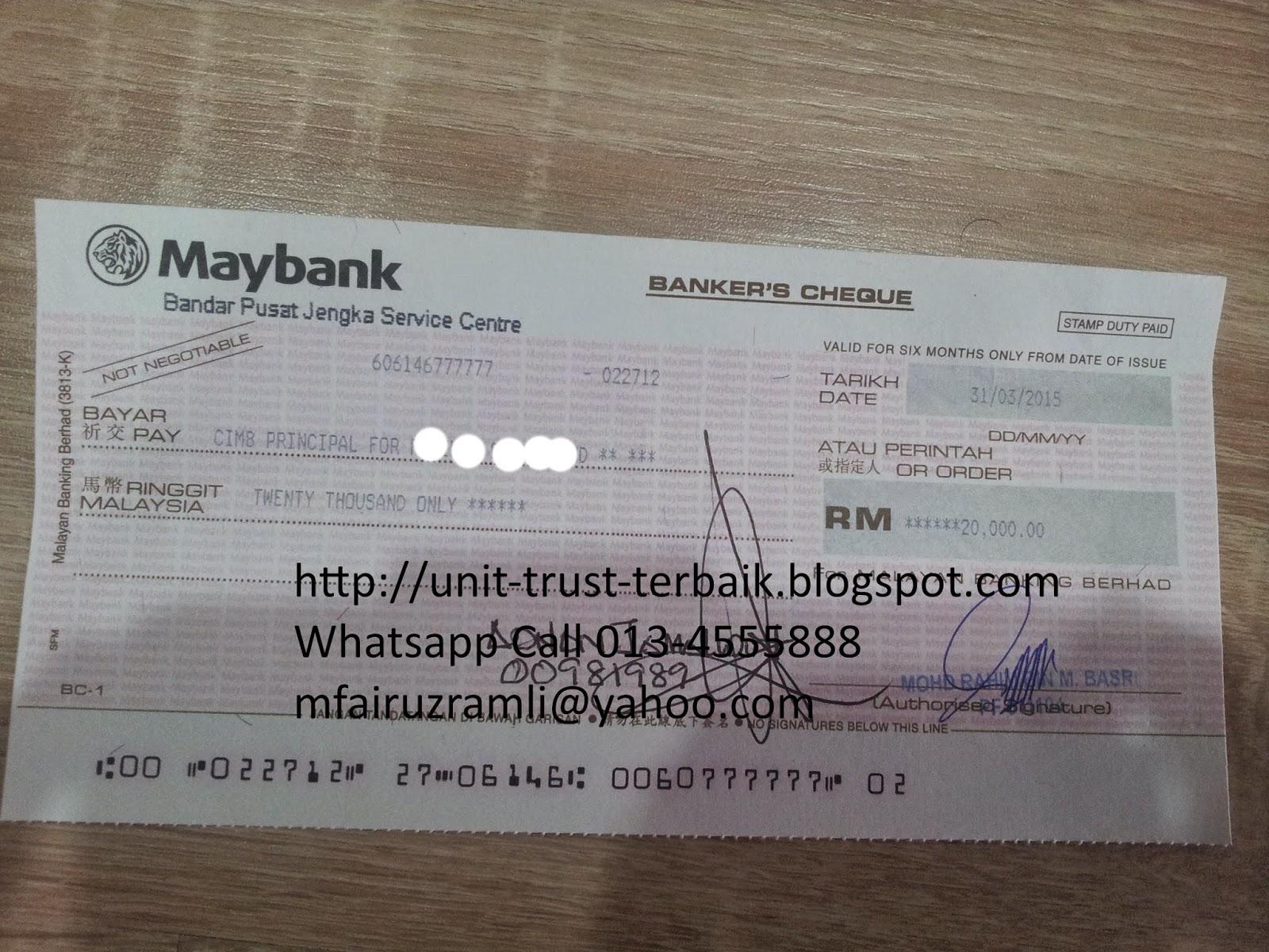 Pelaburan Cash Unit Trust RM20000 En Ramli