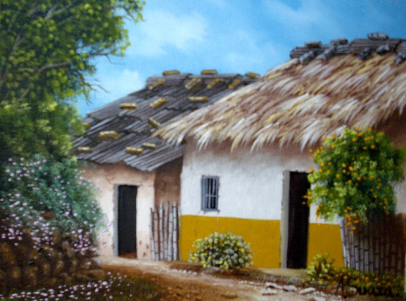 Im genes arte pinturas paisajes al leo de casas - Paisajes de casas ...