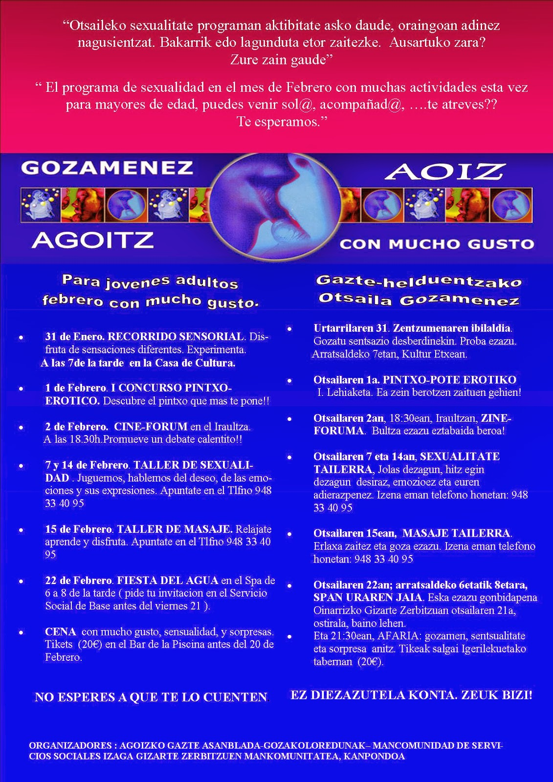 Educación de los sexos, educación sexual, talleres sexualidad, Pamplona, Navarra