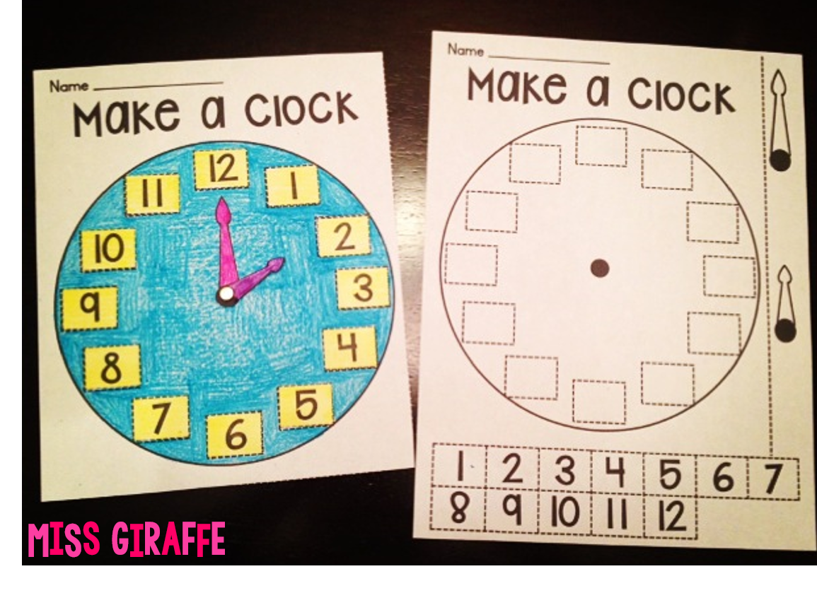 Worksheet First Grade Telling Time miss giraffes class telling time in first grade ideas like making a clock and more