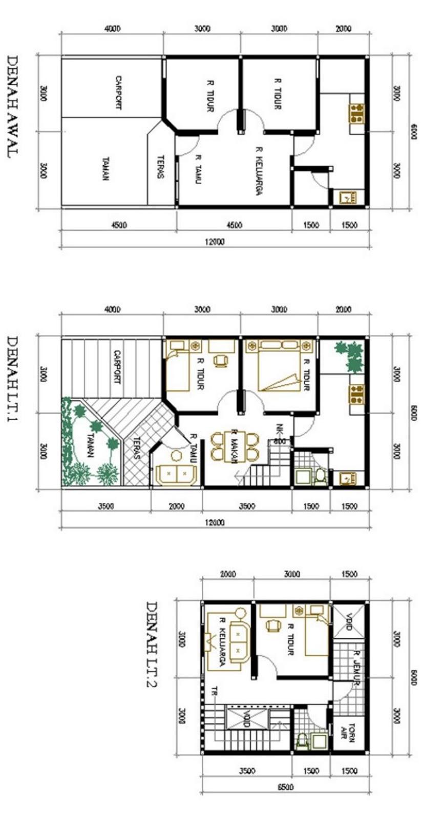contoh denah 2 lantai 6x12 terbaru
