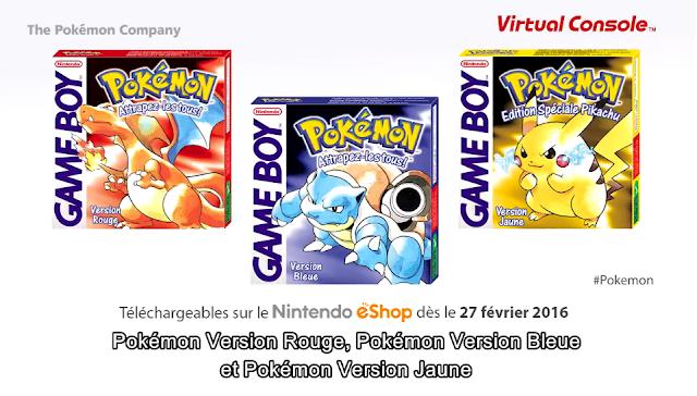 Actu Jeux Vidéo, eShop, Game Freak, Jeux Vidéo, Nintendo 3DS, Nintendo Direct, Pokémon Bleu, Pokémon Jaune, Pokémon Rouge,