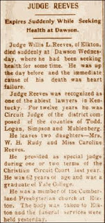 Death of Judge Willis L. Reeves