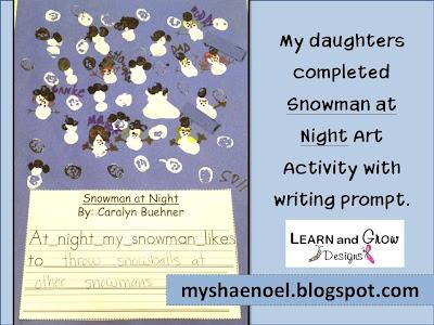 at Night Art and Writing Activity, Snowman Math, Snowman Themed ...