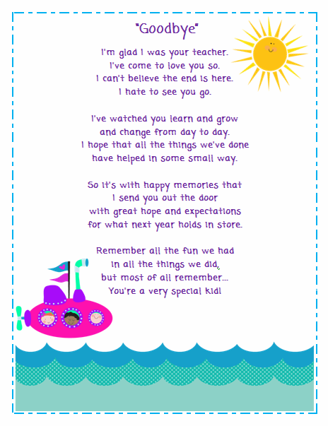 Goodbye Poem for Students - Classroom Freebies