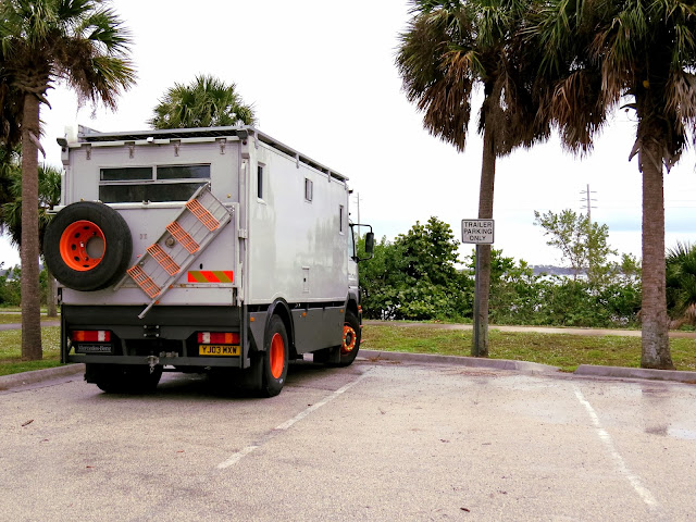Jim the Truck, parked by the sea in Cocoa, Florida, fresh off the roro boat from England