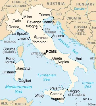 Mapa de Italia sin divisiones