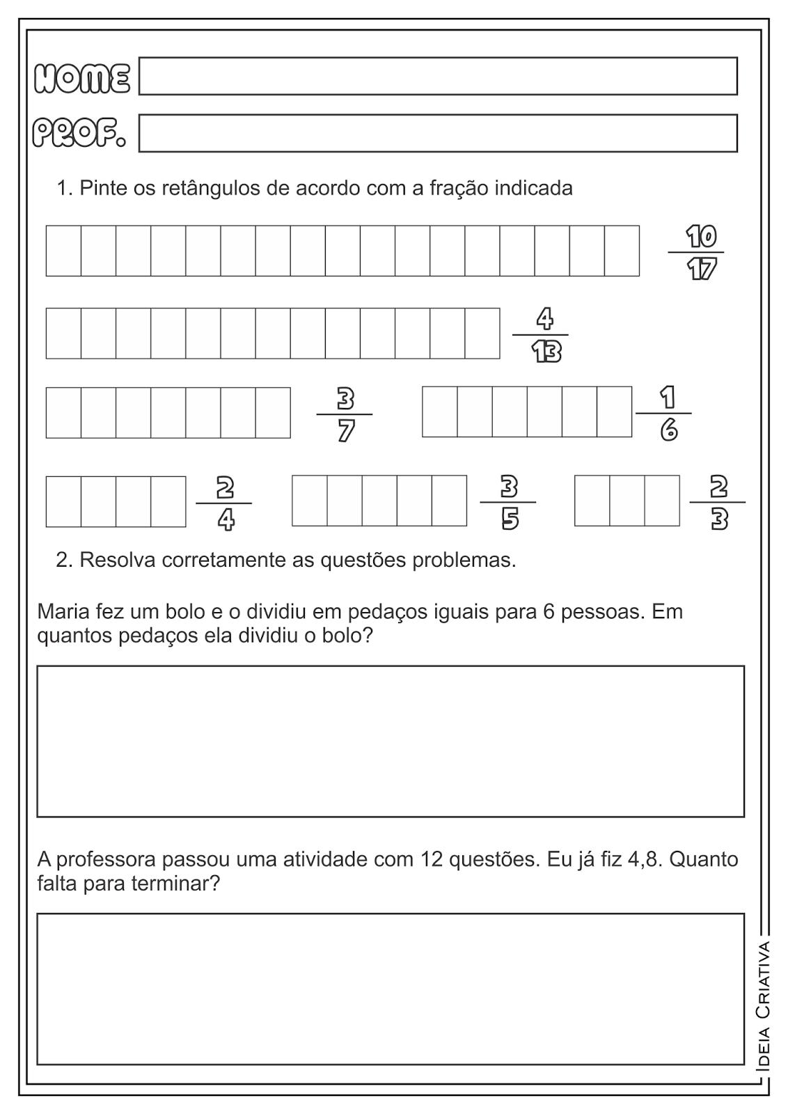 Frações Matemática Atividades Educativas Ensino Fundamental