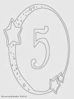 Mewarnai angka 5 bergaya bulan dan bintang
