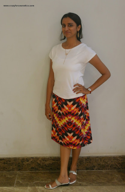 wearing printed skirts