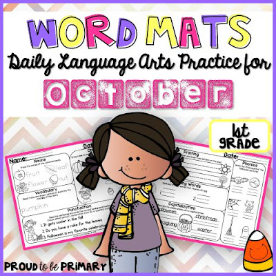 Proud to be Primary's October Word Mats provide tons of ELA practice of skills and spiraling review of concepts on each mat.