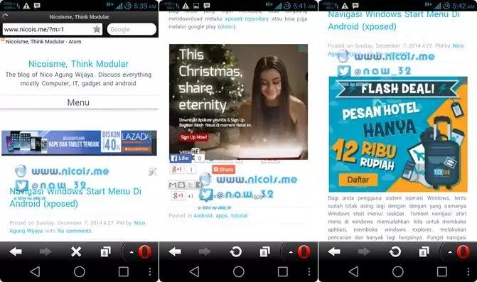 Menampilkan iklan google adsense di opera mini secara default